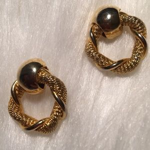 "Vintage 1"" Twisted Gold Well Made Pierced Earring"